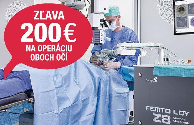 Zľava na jedinečnú operáciu FEMTO PRELEX alebo FEMTO Z KATARAKTA